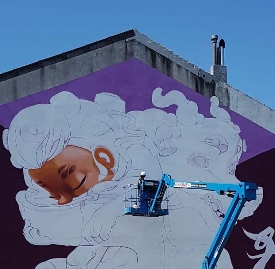 Medianera de Carballo pintada con brazo articulado Rama por Animalitoland