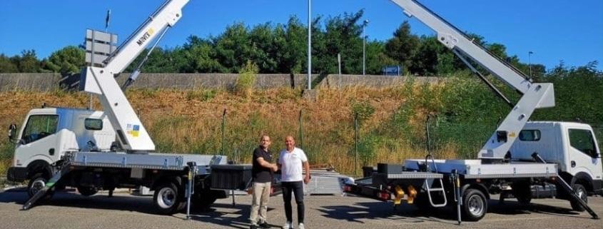 Movex plataformas sobre camión acuerdo con talleres Velilla