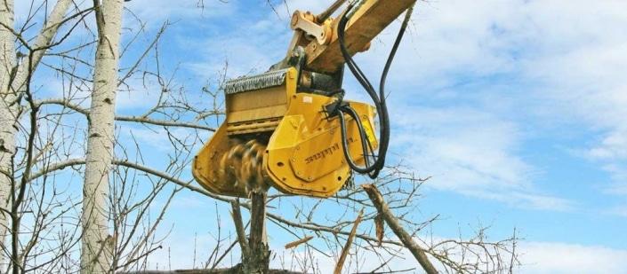 Desbrozadora de martillos triturando ramas
