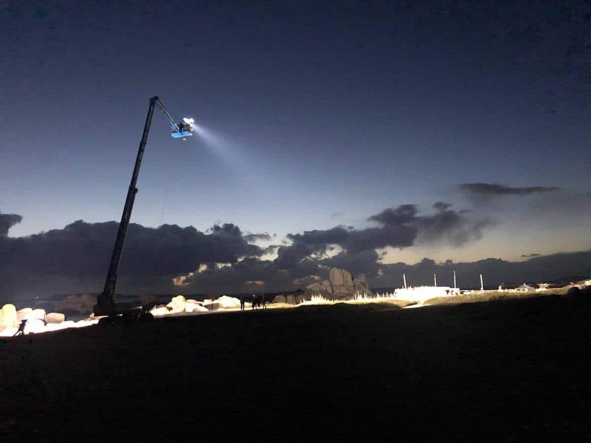 plataforma telescópica O Grove rodaje Santa Isabel