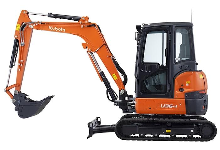 Mini excavadora Kubota U36-4 en alquiler y venta en A Coruña y Vigo.