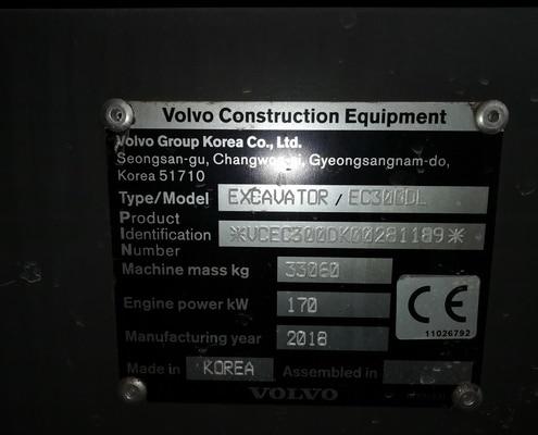 Placa excavadora Volvo EC360DL